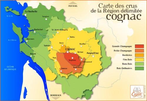 Karte der Region Cognac